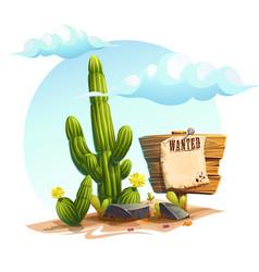 Cartoon of a cactus wanted vector