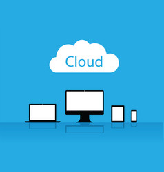 cloud enabled equipment internet business icons vector image vector image