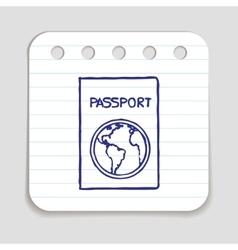 Doodle passport icon vector