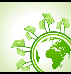 Ecology Concept - Solar panel with earth vector image
