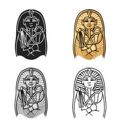 egyptian pharaoh sarcophagus icon in cartoon style vector image