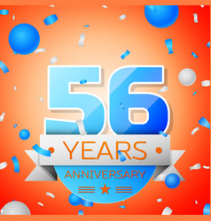 Fifty six years anniversary celebration vector
