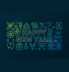 Happy new year colored in thin vector