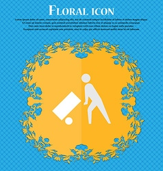 Loader Floral flat design on a blue abstract vector image