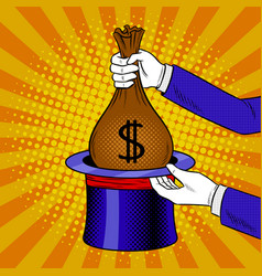 magician and money from cylinder pop art vector image