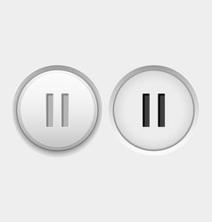 Pause round white interface buttons normal and vector