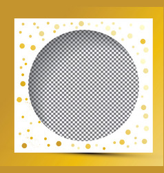 Photo frame with golden splashes and transparent vector