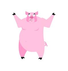 pig surprised emoji piggy astonished emotion on vector image vector image