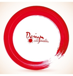 Red paintbrush circle frame vector