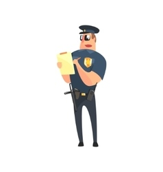 Road policeman in american cop uniform with vector