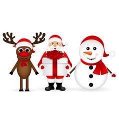 Santa claus with snowman and reindeer cartoon vector