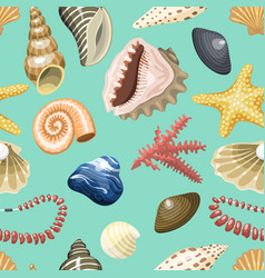 sea shells marine cartoon clam-shell and ocean vector image vector image