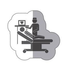 sticker monochrome pictogram person with vector image
