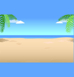 Summer background with palm leaves in the corner vector