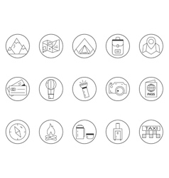 Summer camping and travel outline icons set vector image