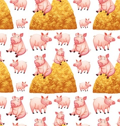 Seamless background with pigs and haystacks vector
