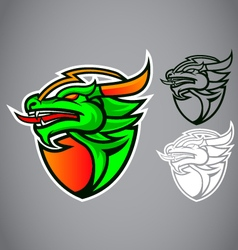 Shield green dragon emblem logo vector