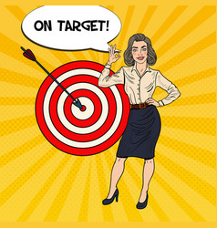 pop art business woman achieved the target vector image