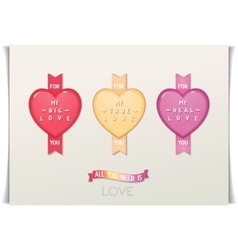 Design hearts icon with message love vector