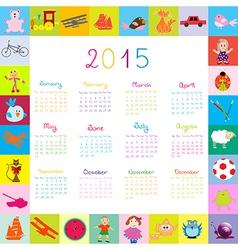 2015 calendar frame with toys vector