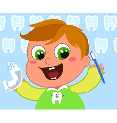 Young boy cleaning teeth vector