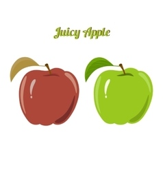 Set of juicy green and red apples isolated on a vector