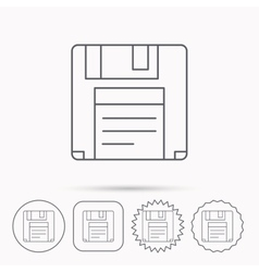 Floppy disk icon retro data storage sign vector