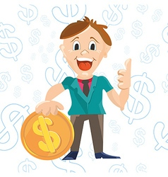 Businessman character design with doolar sign coin vector