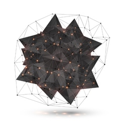 Abstract low poly black object with polygonal grid vector