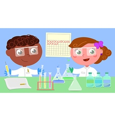 Two young researchers vector