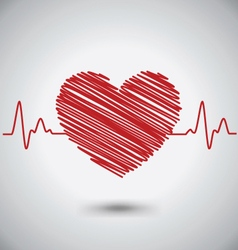 Heartbeat with heart shape and ekg medical concept vector