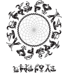 Round pattern with dancing figures vector