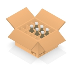 Isometric cardboard box with group bottles vector