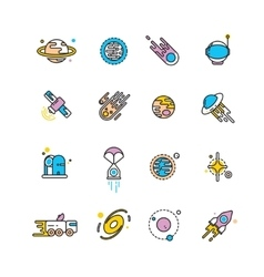 Cosmos exploration flat icons with planets and vector