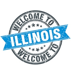 Welcome to illinois blue round vintage stamp vector
