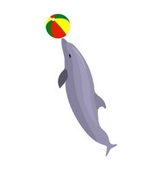 Jumping dolphin playing with vector