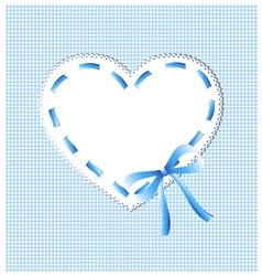 Blue heart with sewing vector