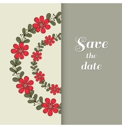 Postcard red floral wreath vector