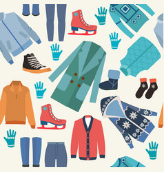 Background with fashion winter clothes collection vector