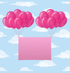 Balloons with paper on sky vector