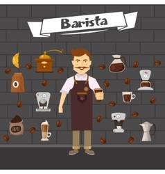 Barista and coffee composition vector