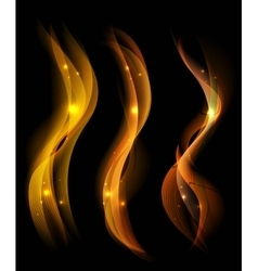 Beautiful fire smoke over black background lines vector