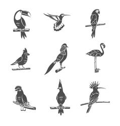 Bird Black Icons Set vector image vector image