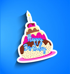 Birthday cake sticker vector image
