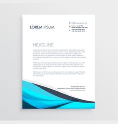 blue wavy letterhead design template vector image vector image