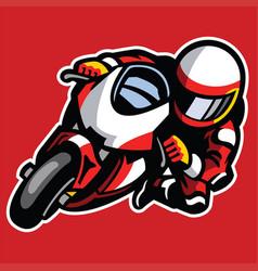 Cartoon style of sportbike race cornering vector