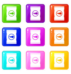 Chips plastic bag icons 9 set vector