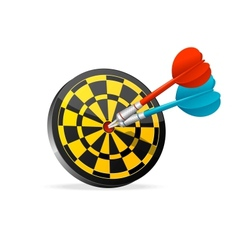 Classic Darts Board with colorful darts vector image vector image