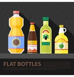 color flat kitchen bottle set vector image