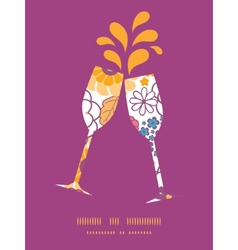 Colorful oriental flowers toasting wine vector